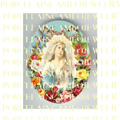 CATHOLIC CROWN VIRGIN MARY PRAYING ANGEL ROSE UNSET PORCELAIN CAMEO CAB