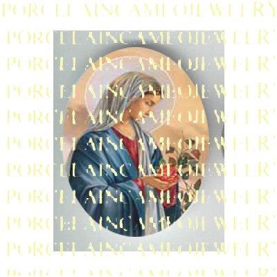 CATHOLIC  VIRGIN MARY IN PRAYER ROSE * UNSET PORCELAIN CAMEO CAB