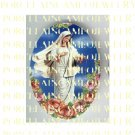 CATHOLIC VIRGIN MARY WITH ROSES * UNSET PORCELAIN CAMEO CAB