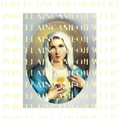 CATHOLIC VIRGIN MARY SACRED HEART * UNSET PORCELAIN CAMEO CAB 23-1