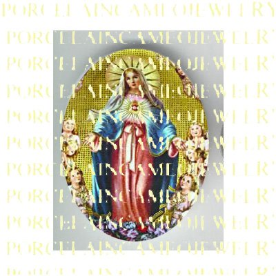 CATHOLIC CROWN VIRGIN MARY WITH ANGEL UNSET PORCELAIN CAMEO CAB 23-5