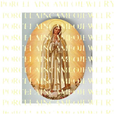 CATHOLIC CROWN VIRGIN MARY WITH ROSE UNSET PORCELAIN CAMEO CAB 23-7