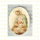 CATHOLIC VIRGIN MARY BABY JESUS MADONNA CHILD LILY UNSET PORCELAIN CAMEO CAB 23-13