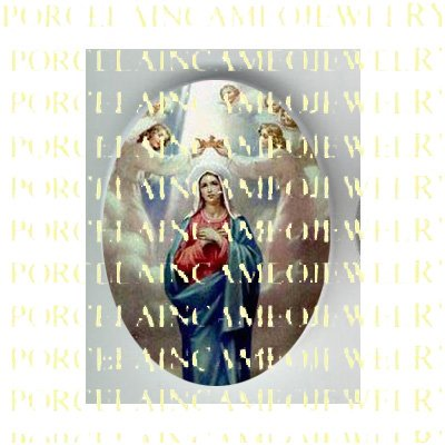 CATHOLIC CROWN VIRGIN MARY ANGEL PORCELAIN CAMEO CAB 23-25