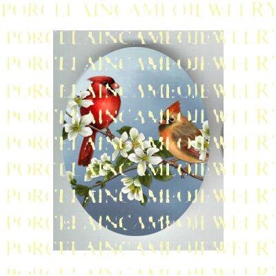 2 CARDINAL BIRD COUPLE DOGWOOD * UNSET PORCELAIN CAMEO CAB