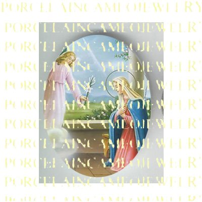 CATHOLIC VIRGIN MARY WITH ANGEL* UNSET PORCELAIN CAMEO CAB 24-3