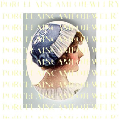 VICTORIAN LADY WITH BLUE WHITE LACE HAT* UNSET PORCELAIN CAMEO CAB
