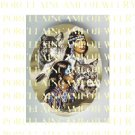 NATIVE AMERICAN INDIAN COUPLE WITH WOLF WILD CAT  * UNSET PORCELAIN CAMEO CAB