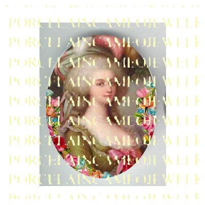 FRENCH QUEEN MARIE ANTOINETTE VICTORIAN ROSE PORCELAIN CAMEO CAB
