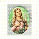 CATHOLIC SAINT Philomena WITH LILY FLOWER* UNSET PORCELAIN CAMEO CAB