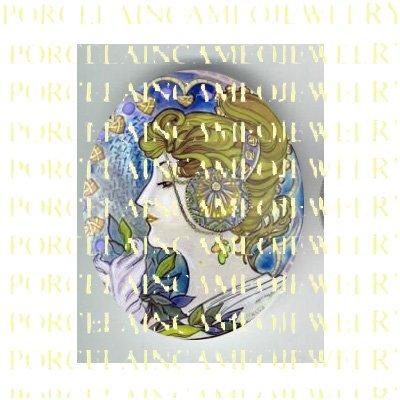 ALPHONSE MUCHA ART NOUVEAU PURPLE LADY PORCELAIN CAMEO CAB 58-8