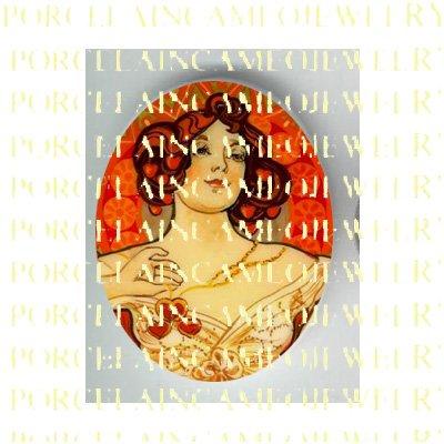 ALPHONSE MUCHA ART NOUVEAU DECO RUBY RED LADY PORCELAIN CAMEO CAB 58-15