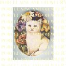 WHITE KITTY CAT WITH ROSE FLOWER UNSET PORCELAIN CAMEO CAB