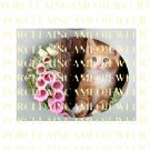 Ginger Cat PINK Foxgloves UNSET PORCELAIN CAMEO CAB