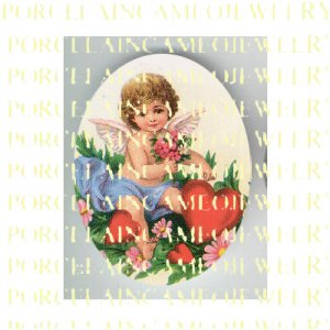 VICTORIAN ANGEL CHERUB PINK FORGET ME NOT HEART* UNSET PORCELAIN CAMEO CAB
