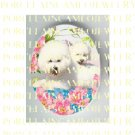 2 BICHON FRISE DOG MOM PUPPY ROSE* UNSET PORCELAIN CAMEO CAB