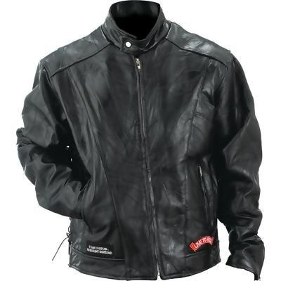 Diamond Plate� Rock Design Genuine Buffalo Leather Motorcycle Jacket