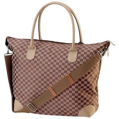 Gigi Chantal� Brown Checkered Tapestry Shopping Bag