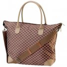 Gigi Chantal™ Brown Checkered Tapestry Shopping Bag
