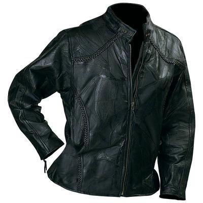 Diamond Plate� Rock Design Ladies' Genuine Leather Motorcycle Jacket