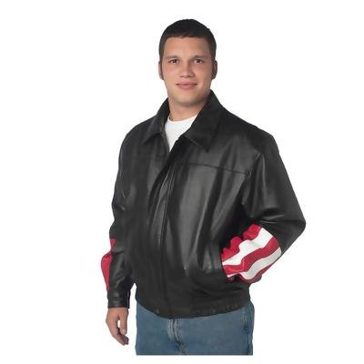 Diamond Plate� USA/Eagle Solid Genuine Leather Bomber Jacket