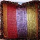 Custom Handmade Pillow, Purple Red Green Gold Stripe by Veronica Mandolini 75.00-FS