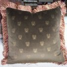 Custom Handmade Pillow Deep Peat Green Velvet Bee by Veronica Mandolini 87.00-FS