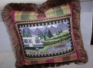 """Home Is Where You Hook Up 16"""" Handmade Pillow By Veronica Mandolini 87.00-FS"""