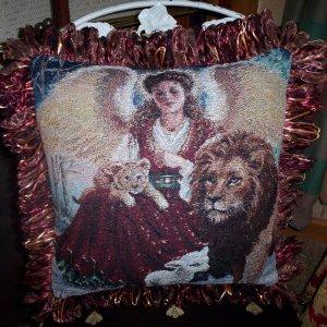 Angel, Lion, Lamb Handmade Pillow by Veronica Mandolini 125.-FS