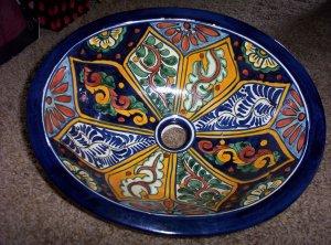 Hand Painted Ceramic Glazed Sink Blue