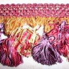 Ribbon Tassel Fringe Red Purple Gold, 29.95per yard