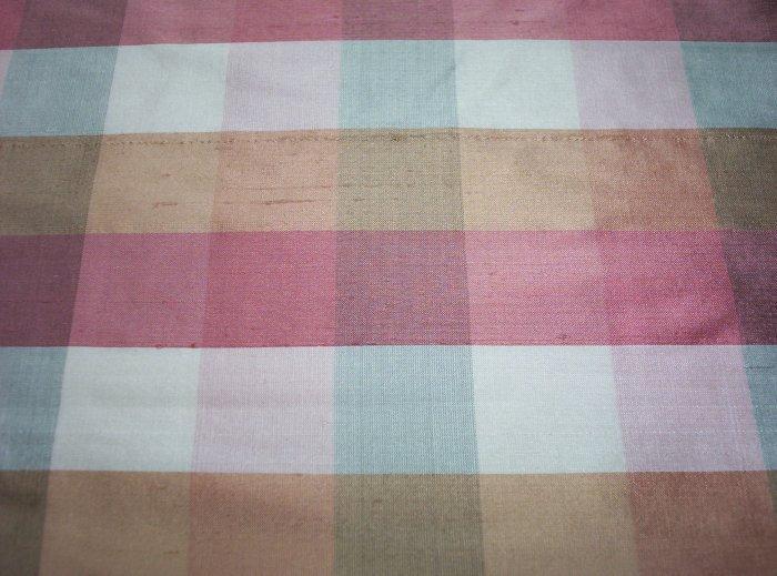 Silk Fabric, Plaid, CK123 Pink, Ivory, Tan- Take All  $164.00-FS