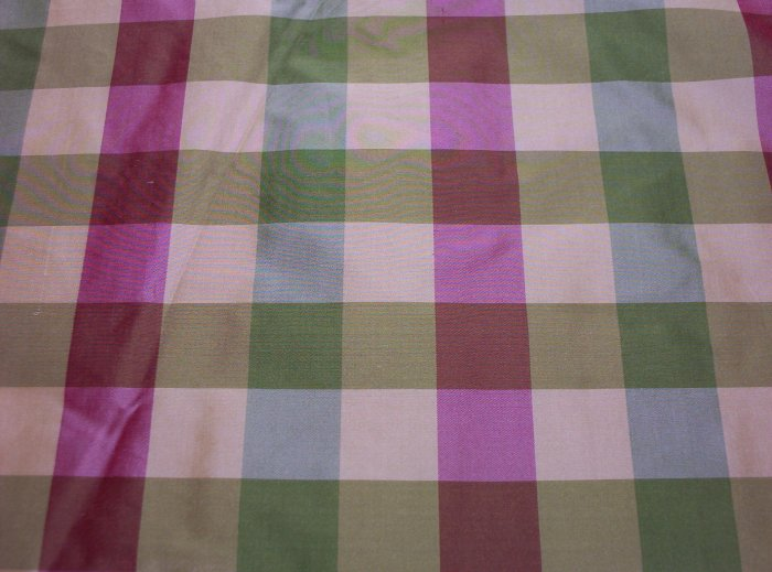 Silk Fabric (15) Plaid Red, Green, Pale Gold, Off White $28.99per yd