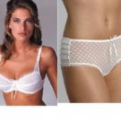34b ballet bware white polka bra pantie set new with tags