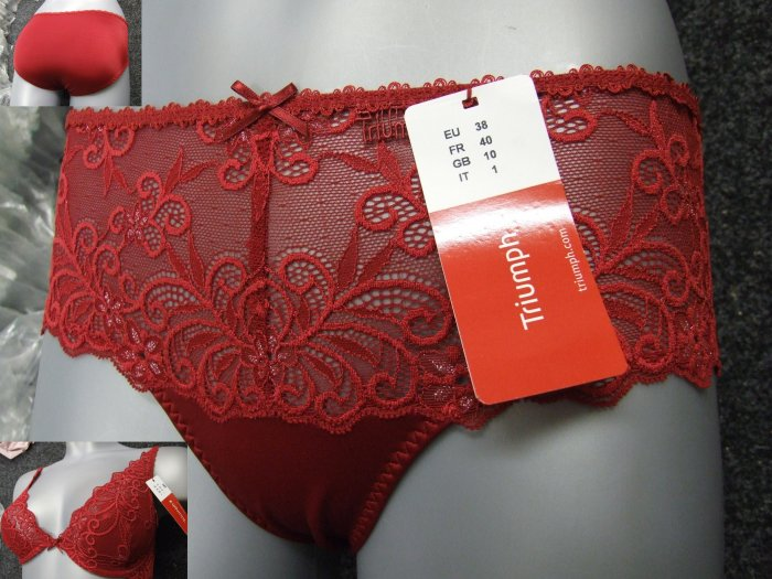 triumph seductive feel red lace glitter hipster panties size medium new with original brand tags
