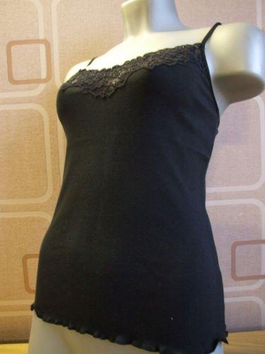 ex kew cotton & diamonte lace black vest 10/12 S BN
