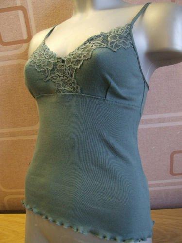 ex kew cotton & lace teal shaped vest 12/14 M BN