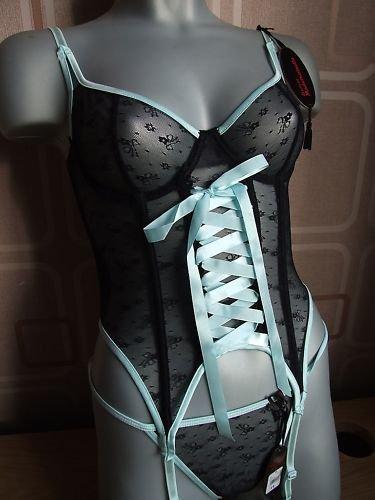 34c sexy satine mademoiselle black mint basque BNWT