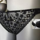 Gossard black & gold tanga brief xs 8/10 BNWT