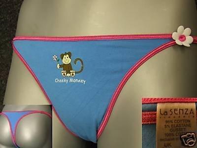 ex la senza blue cheeky monkey cotton thong size 10