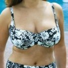 34ff floral black underwired bikini top ex brand BNWT