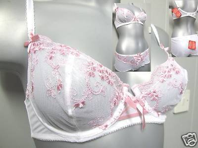 34c littlewoods white & pink embroidery wired bra BNWT