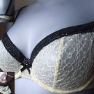 32c m&s lemon & black underwired embroidery bra BNWT