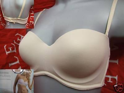 32a m&s natural multiway smooth padded bandeau bra BNWT