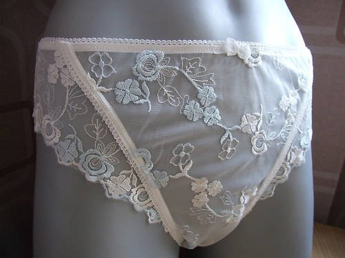 size 12 ivory blue floral lace catalogue knickers brief