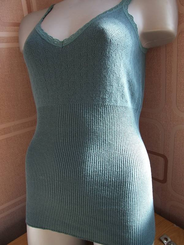 jigsaw ladies thermal long vest Top dark green m 12/14