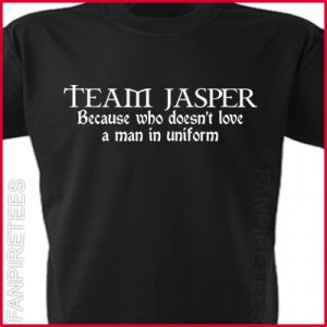 TEAM JASPER - Man in Uniform Twilight fan T-Shirt SMALL ~ FREE SHIPPING