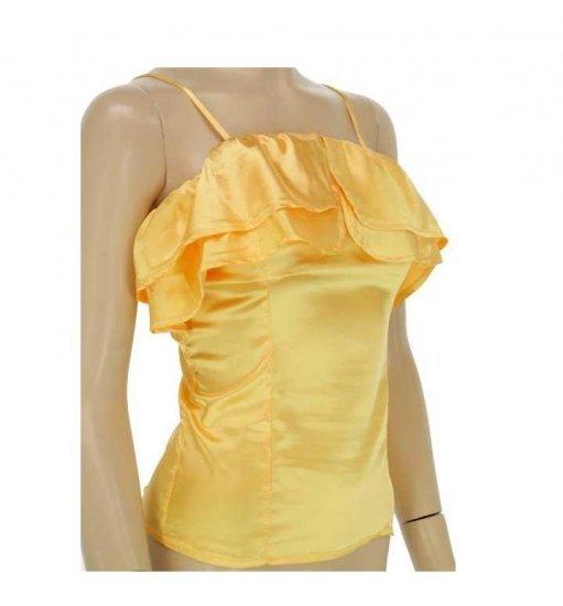Medium Size Yellow Ruffle Spaghetti String Tank Top for Ladies