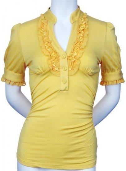 Medium Size Yellow Ruffle Shirt For Women