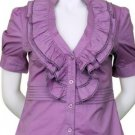 XL Size Lilac Purple Ruffle Blouse for Women